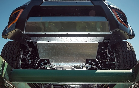 Front Underbody Protection 3mm stainless steel front underbody protection plate prevents damage to critical components.