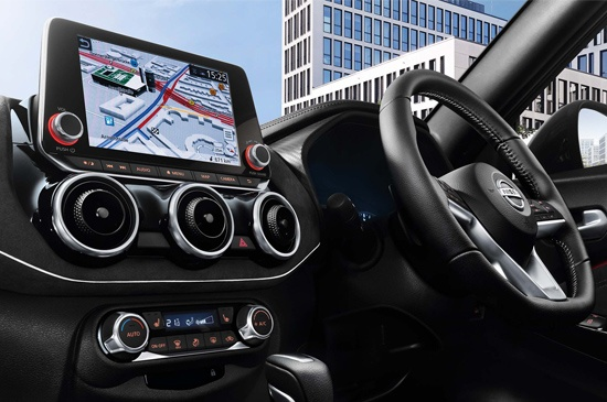DRIVER-FOCUSED INTERIOR DESIGN The all new Nissan JUKE puts you at the centre of thrilling performance with an intuitive driver-focused design. Be surrounded by premium finishes of Alcantara® while you experience technology such as Apple Carplay® and Android Auto® at your fingertips.